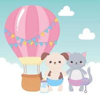baby shower, cute dog and cat with diaper rattle and air balloon, celebration welcome newborn vector