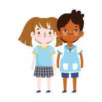regreso a la escuela, estudiante, niño y niña, uniforme, educación vector