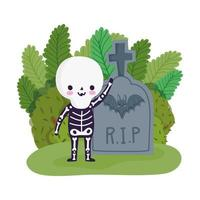 happy halloween, boy skeleton costume tombstone grass, trick or treat party celebration vector