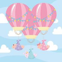 baby shower, cute babies flying in hot air balloons, celebration welcome newborn vector