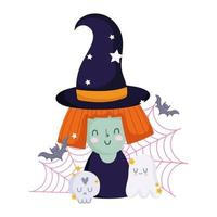 happy halloween, witch cartoon skull ghost bats and cobweb, trick or treat party celebration vector