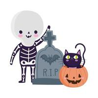 happy halloween, boy skeleton costume tombstone and cat inside pumpkin, trick or treat party celebration vector