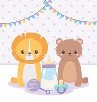 baby shower, osito león con dibujos animados de sonajero chupete, celebración bienvenido recién nacido vector
