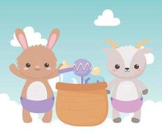baby shower, cute bunny goat with basket rattle pacifier and bottle milk, celebration welcome newborn vector