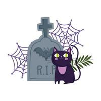 happy halloween, black cat cemetery tombstone cobweb trick or treat party celebration vector