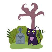 happy halloween, black cat tombstone dry tree grass cartoon, trick or treat party celebration vector