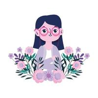 happy teachers day, young woman teacher character with flowers vector