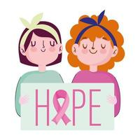 breast cancer awareness month, two young women placard hope lettering, vector
