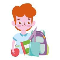 happy teachers day, student boy backpack books and apple cartoon vector
