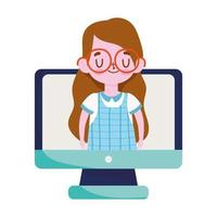 school, student girl with glasses in screen computer, isolated icon white background vector