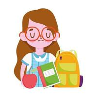 happy teachers day, student girl with bag notebook and apple cartoon vector
