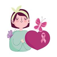 breast cancer awareness woman flower butterfly heart ribbon vector