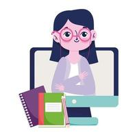 feliz día del maestro, cuaderno y lápiz de libro de lecciones en línea vector