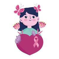 breast cancer awareness month portrait girl butterfly flowers ribbon in heart vector