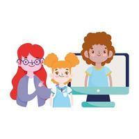 feliz día del maestro, maestro estudiantes niña niño computadora clase en línea vector