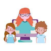 feliz día del maestro, maestra y estudiante niña niño computadora clase en línea vector