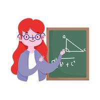 feliz día del maestro, maestro con lección de aritmética de pizarra vector