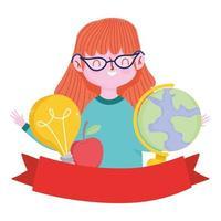happy teachers day, teacher cartoon school map and apple vector