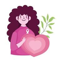 breast cancer awareness month, woman heart love leaf design vector