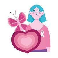 mes de concientización sobre el cáncer de mama, mujer mariposa y dibujos animados de corazón vector
