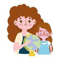 feliz día del maestro, maestra morena y alumna con globo escolar vector