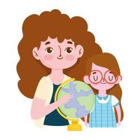 happy teachers day, brunette teacher and girl pupil with school globe vector