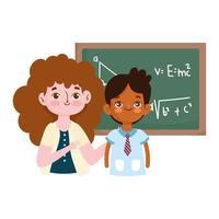 feliz día del maestro, maestro y estudiante niño lección de pizarra vector