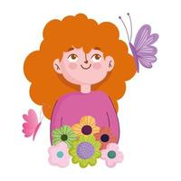 cute woman butterflies flowers decoration isolated icon white background
