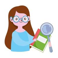 happy teachers day, teacher character magnifier and book vector