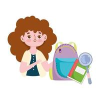 happy teachers day, teacher backpack book and magnifier vector