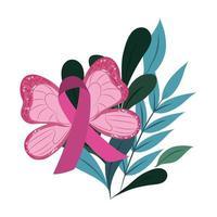 cinta de mariposa decorativa de conciencia de cáncer de mama deja adorno vector