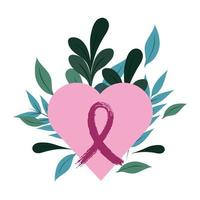 breast cancer awareness pink heart love ribbon leaves foliage design vector