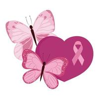 breast cancer awareness pink heart ribbon and butterflies vector