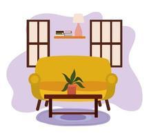 mesa con lámpara de estante de plantas en maceta y ventanas vector