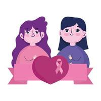 breast cancer awareness month, girls with heart and pink ribbon design vector