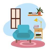 silla verde lámpara de mesa estantería de libros y planta
