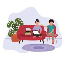 working at home, woman using laptop and man sitting on chair with books, people at home in quarantine vector