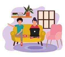trabajando en casa, pareja en sofá con laptop, gente en casa en cuarentena vector