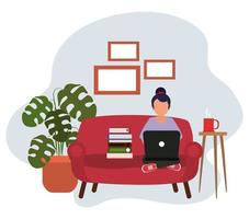 working at home, woman sitting using laptop books and coffee cup, people at home in quarantine vector