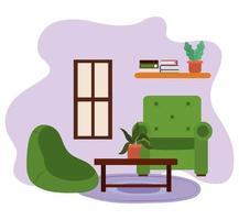 Sala de estar, sillas, mesa con maceta, estantería, libros y ventana.