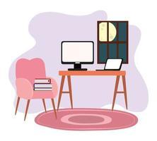 espacio de trabajo habitación casa escritorio computadora laptop silla libro ventana vector