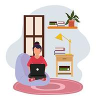 working at home, woman in chair with computer table lamp and books, people at home in quarantine vector