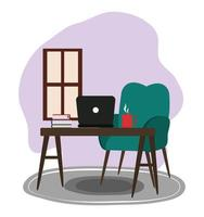 chair computer table books coffee cup window cartoon vector