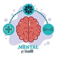 mental health day, left and right brain functions, psychology medical treatment vector