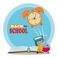 back to school, calculator book clock and laboratory flask elementary education vector