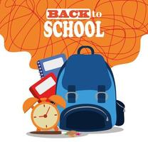 back to school, backpack books and alarm clock elementary education vector