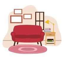 red sofa table lamp books carpet and window