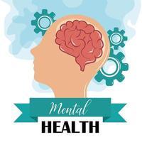 mental health day, human profile brain gears, psychology medical treatment vector