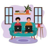 trabajando en casa, hombres jóvenes en el sofá usando la computadora portátil, gente en casa en cuarentena vector