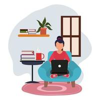 working at home, young woman using laptop table with books, people at home in quarantine vector